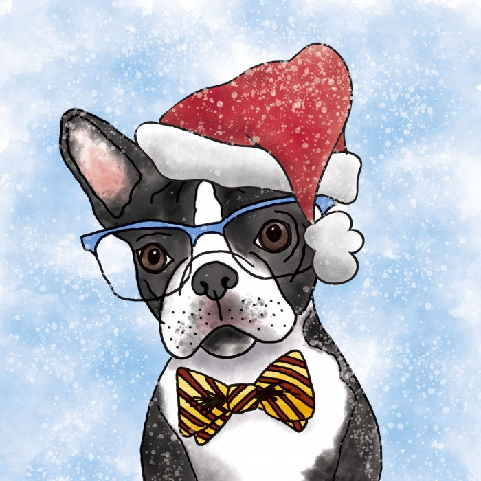 Illustration-Boston-Terrier-Santa-Hat