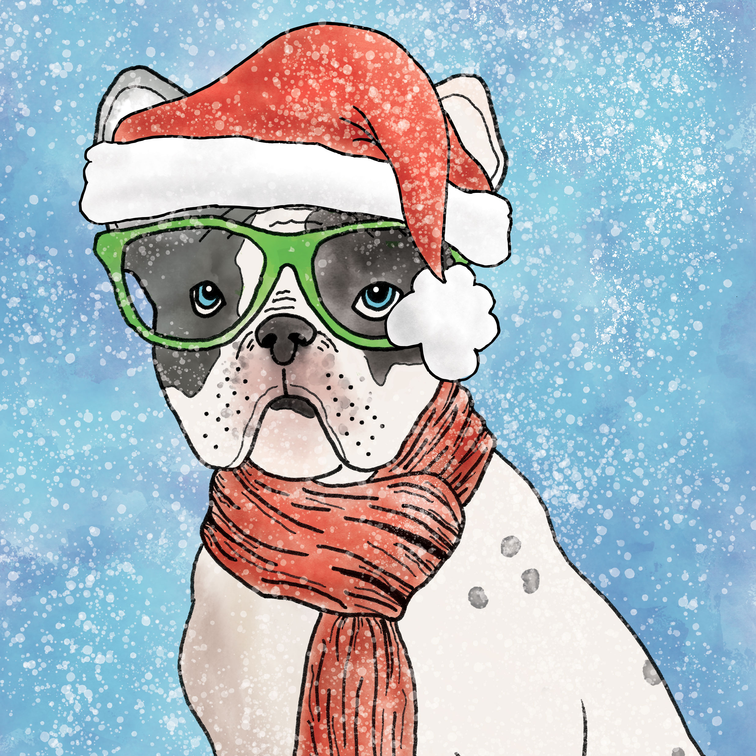 Illustration-French-Bulldog-Santa-Hat